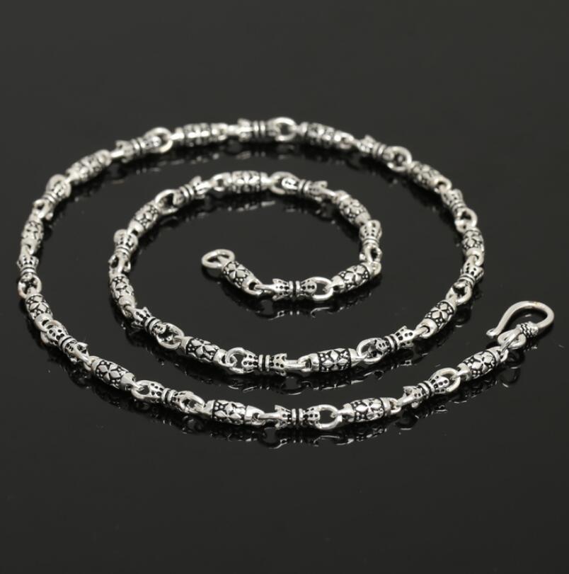 Collier de chaîne en argent Sterling classique rétro pour hommes en argent Sterling 925 de 4mm d'épaisseur