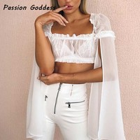 New Ruffle Split Sleeve Design White Blouse Chiffon Princess Blouse Shirts 2018 Party Weeding Sexy Strapless Blousa Long Sleeve