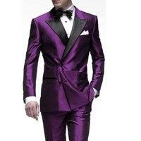 Best продажи Пик нагрудные двубортный Для мужчин Нарядные Костюмы для свадьбы фиолетовый смокинг жениха для Для мужчин костюмы для выпускног