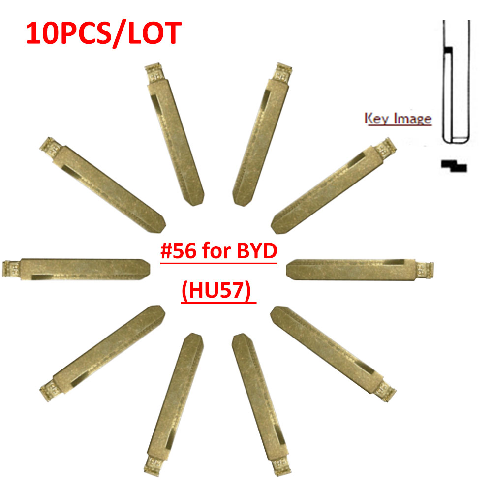 Free Shipping (10 Pcs/lot)Metal Blank Uncut Flip KD Remote Key Blade Type #56 For BYD