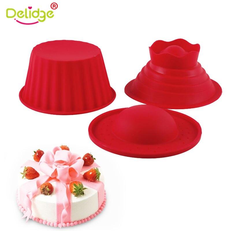 Delidge 3pcsset Silicone Giant Cupcake Mold Big Top Cupcake