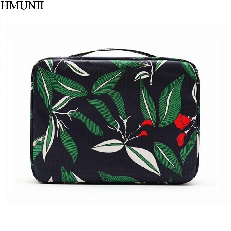 HMUNII Waterproof Portable Make up Women Makeup Organizer Bag Cosmetic Bag Toiletry Travel Kits Storage bag Hand bag track B1-29