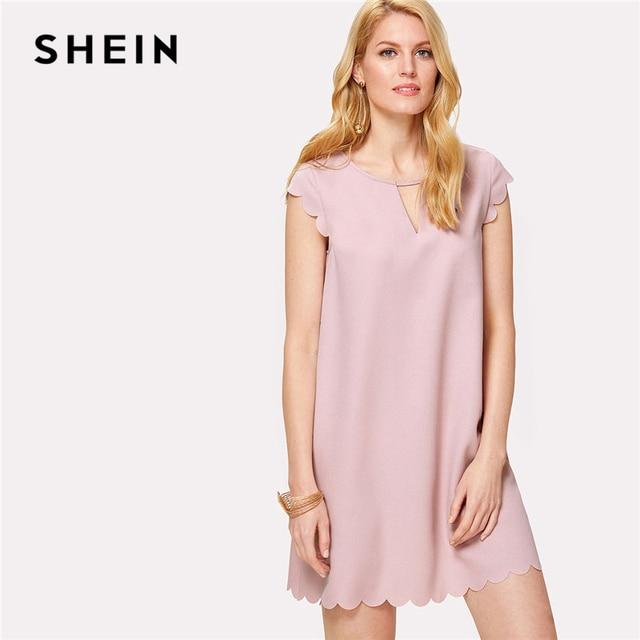 1a1a7ef0426 SHEIN Pink Scallop Trim V Cut Out Neck Loose Dress Women Round Neck Cap  Sleeve Plain Pastel Dress 2018 Casual Short Dress