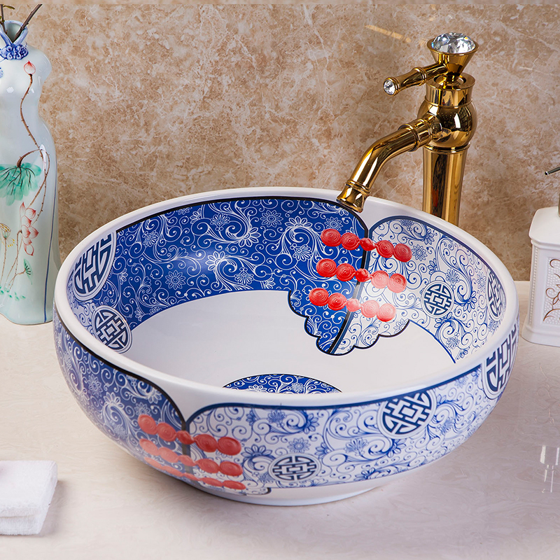jingdezhen blue and white art ceramic wash hand basins for bathroom jingdezhen ceramic lamps and lanterns of blue and white enamel thin waist drum desk lamp506