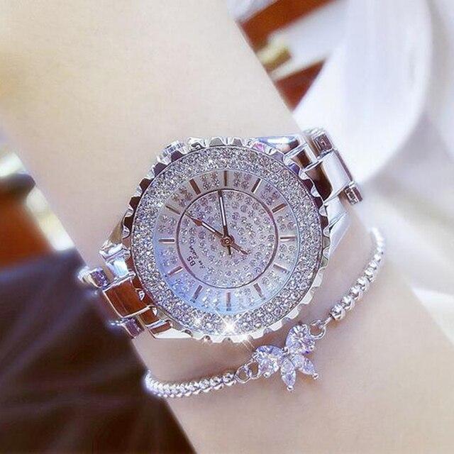 Женские кварцевые часы BS, модные роскошные женские наручные часы с кристаллами и стразами, золотые часы браслет