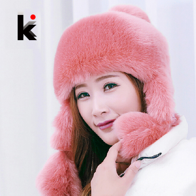 Winter Cap Imitation Rex Rabbit Hat Fur Cap Female Bomber Hat Leisure Wild Cap With Ears Hats For Women Free Shipping 6 Color