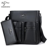 SAQIDAISHU Promotion Famous Brand Handbag High Quality PU Leather Men Tote Bag Borse Classic Sewing Thread