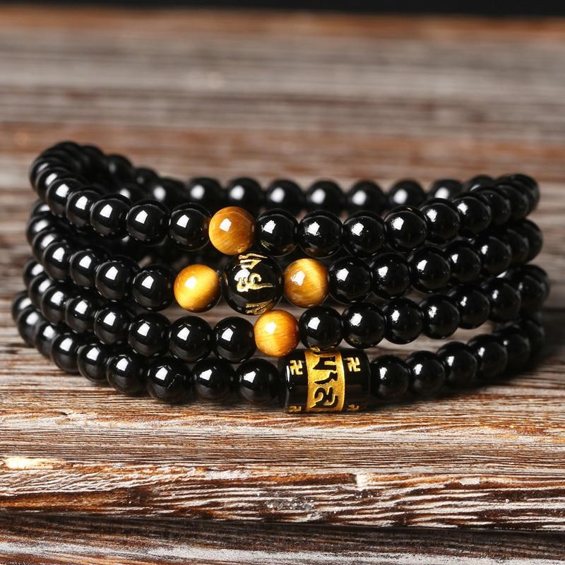 4 A Natural Brazil Black Onyx 108 Beads Bracelet Tiger Eye Chain Bead Men And Women Lovers Bracelet Worldwide Fashion Jewellery