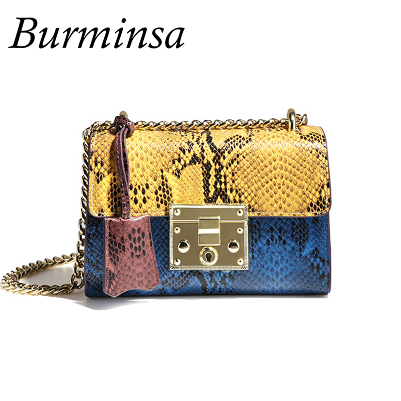 Burminsa Brand Mini Flap Snakeskin Genuine Leather Bags Ladies Chain Shoulder Bag Evening Party Bags Crossbody Bags For Women mesoul chain bag women genuine leather shoulder bags vintage party evening bag handbag crossbody small mini flap bag ladies tote