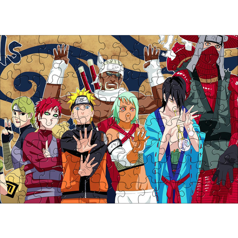 120pcs/set Naruto Sasuke Uchiha Itachi DIY Paper Puzzle Anime Toys Education Juguetes Jigsaw Puzzles Toys For Kids