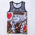 2016 summer style new men's tank tops mesh surface quick-drying vest high quality 3D print Poker Breathable vest free shipping