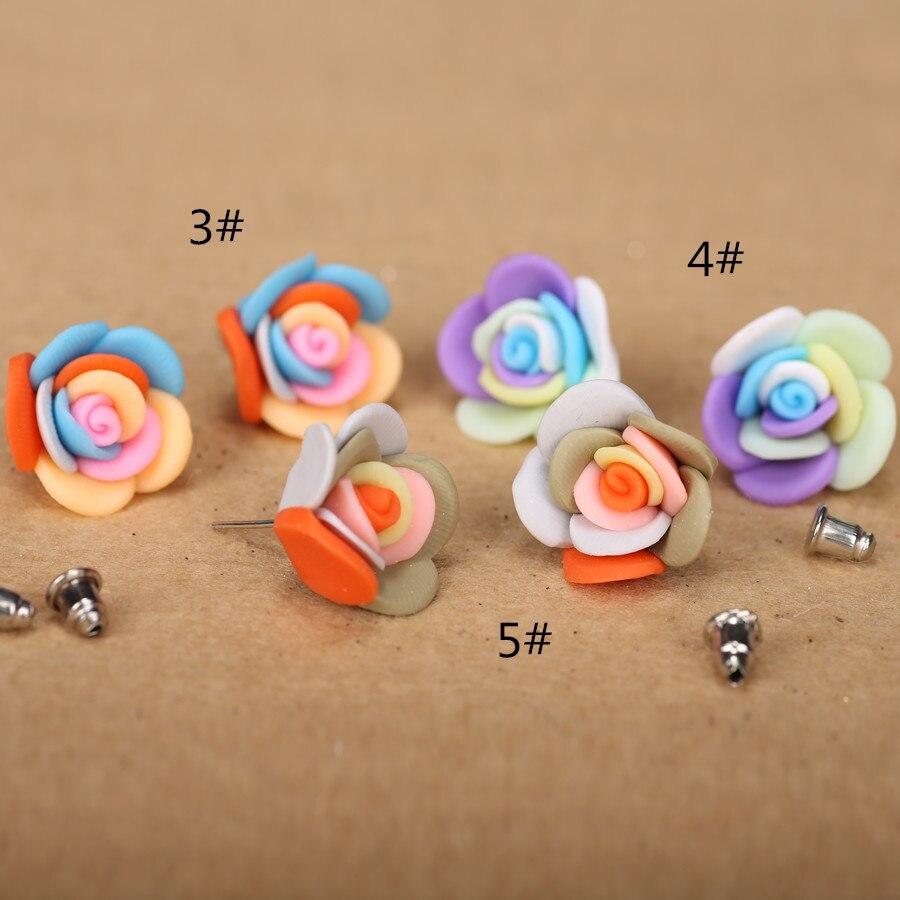 FREE Wholesale Lots 12 Paires Argile Polymère Fleurs Dangle Silver Tone Boucles D/'oreilles