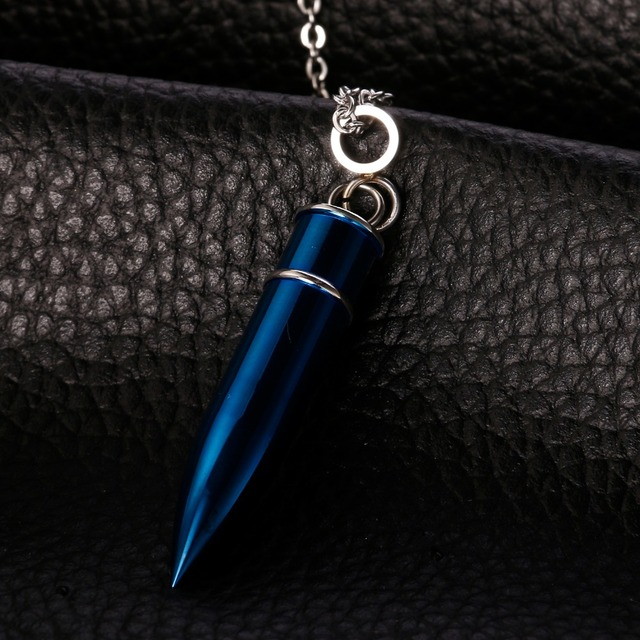 Blue and Gold Bullet Urn Pendant