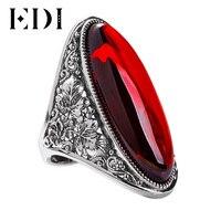 EDI 925 Exagero Grandes Anéis de Pedras Preciosas de Prata Esterlina para Mulheres Projeto Original Clássico Sterling Silver Wedding & Gift Festa