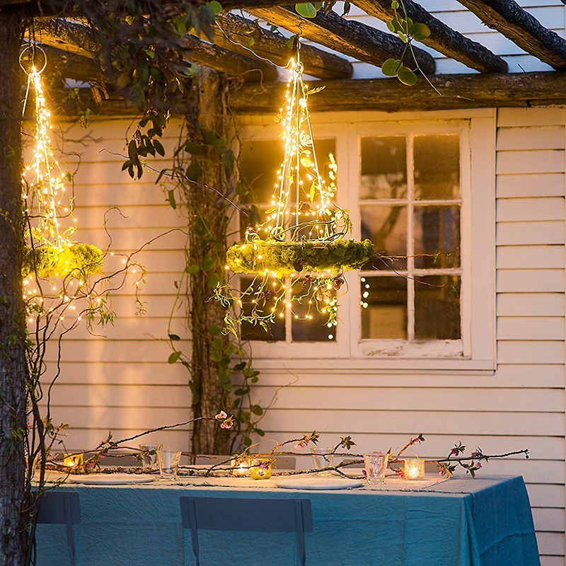 Fairy light string battery powered USB waterproof 2 meters 10meters 100 LED string 33FT silver line firefly holiday light strip 3