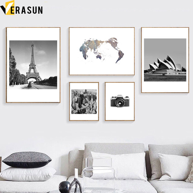 Pairs tower world map sydney opera house wall art canvas painting pairs tower world map sydney opera house wall art canvas painting nordic posters and prints wall gumiabroncs Images