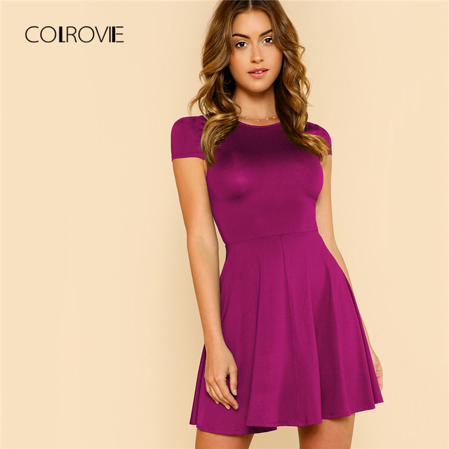 COLROVIE ярко-розовое однотонное с открытой спиной кофейное вечерние платье Элегантное 2018 темно-синее летнее платье с коротким рукавом винтажное ТРАПЕЦИЕВИДНОЕ женское платье