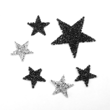 4/6/8cm Hotfix Rhinestones Star Patches For Clothes Iron On Applique Decoration DIY Shoe,Bag,Clothing 5/10pcs Parches Para Ropa