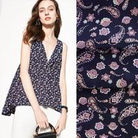 135CM 12MM Print Thin Dark Color Crepe De Chine Fabric Good for Summer Dress Skirt Shirt Scarf Pants JH012