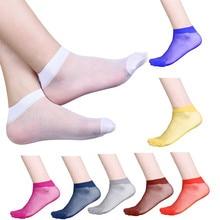 10Pairs Socks Womens Summer Thin Socks Crystal Transparent Thin Silk Socks Elastic