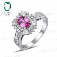 CaiMao 18KT/750 White Gold 1.06 ct Natural Pink Sapphire & 0.98 ct Full Cut Diamond Engagement Gemstone Ring Jewelry