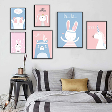Nursery Wall Art Prints Cartoon Rabbit Animals Canvas Painting Picture Nordic Baby Girl Bedroom Decoration Poster