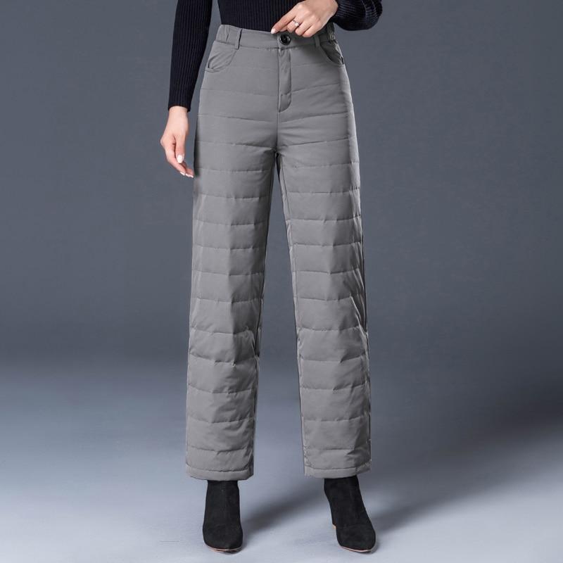 2018 Winter Elegante Witte Eendendons Broek Vrouwen Vintage Hoge Taille Dikker Warme Broek Rechte Vrouwelijke Broek Plus Size AB110-in Broek & capris van Dames Kleding op  Groep 1