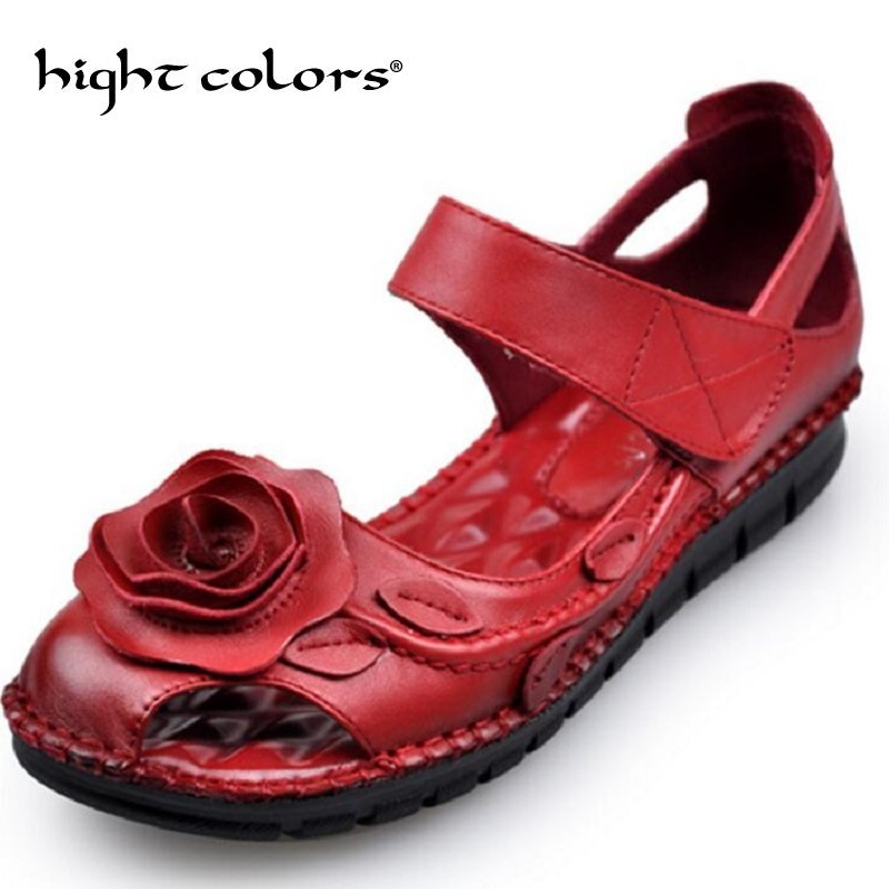 2019 Women Leather Sandals Comfortable Soft Soles Shoes Women Flats Sandals Fashion Summer Shoes Woman Sandals Sandalias Mujer