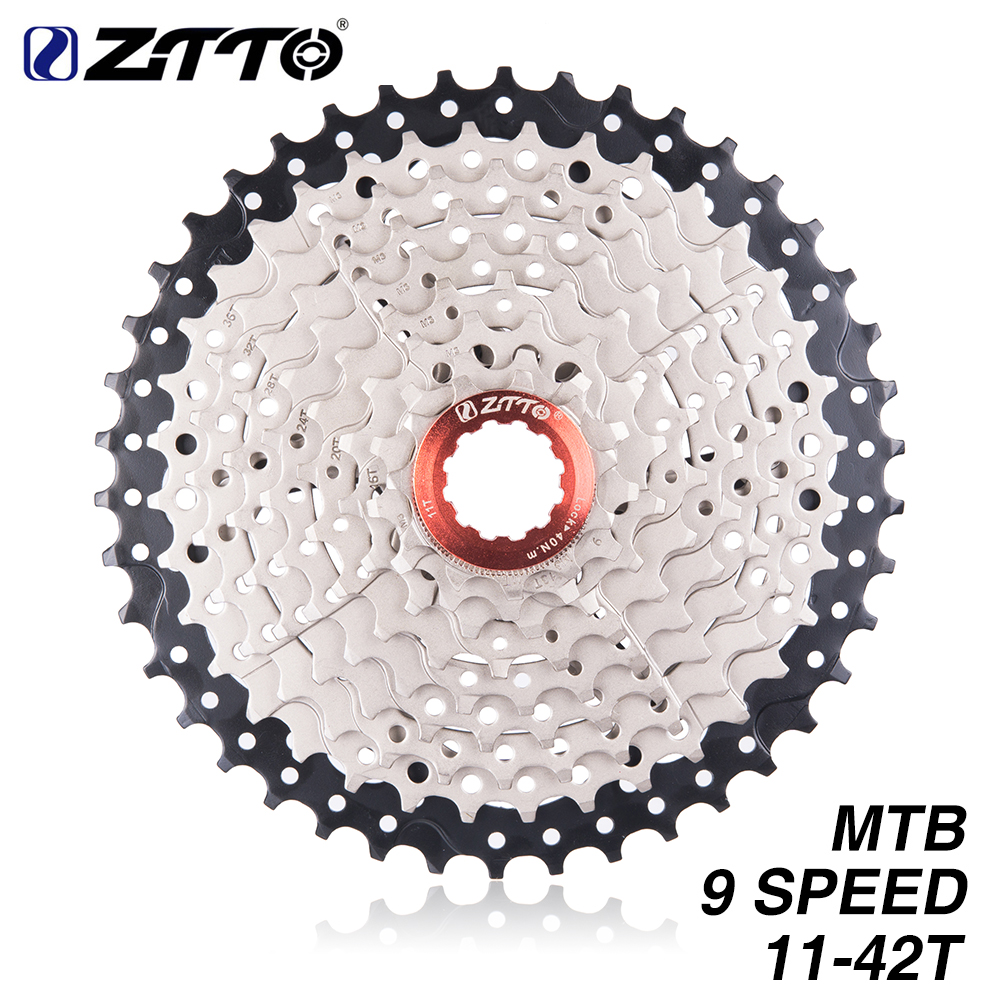 ZTTO MTB 9 S 27S 9Speed <font><b>11</b></font>- <font><b>42T</b></font> Freewheel Mountain Bike Bicycle Parts Cassette WIDE RATIO Compatible For M430 M4000 image