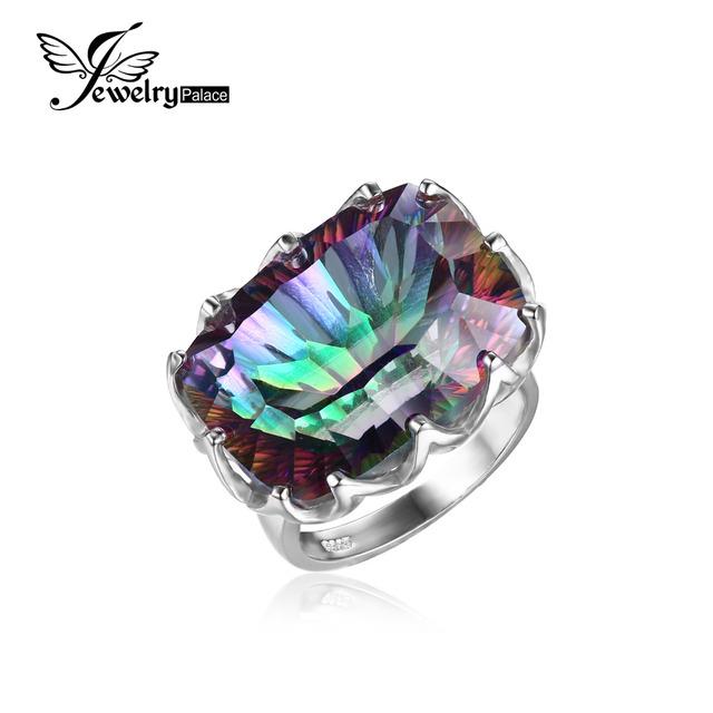 JewelryPalace Lujo Rainbow Fuego Mystic Topaz 23ct Natural Anillo de Cóctel Para Las Mujeres 925 de Plata Esterlina Joyería de La Manera de La Vendimia