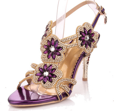 Genuine Leather Gladiator Sandals, Rhinestone High Heels,Wedding ...