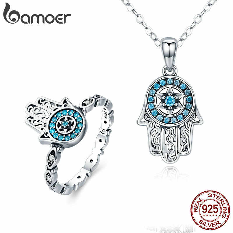 BAMOER Classic 100% 925 Sterling Silver Fatima Hamsa Hand Lucky Necklace Women Rings Jewelry Sets Sterling Silver Jewelry ZHS091