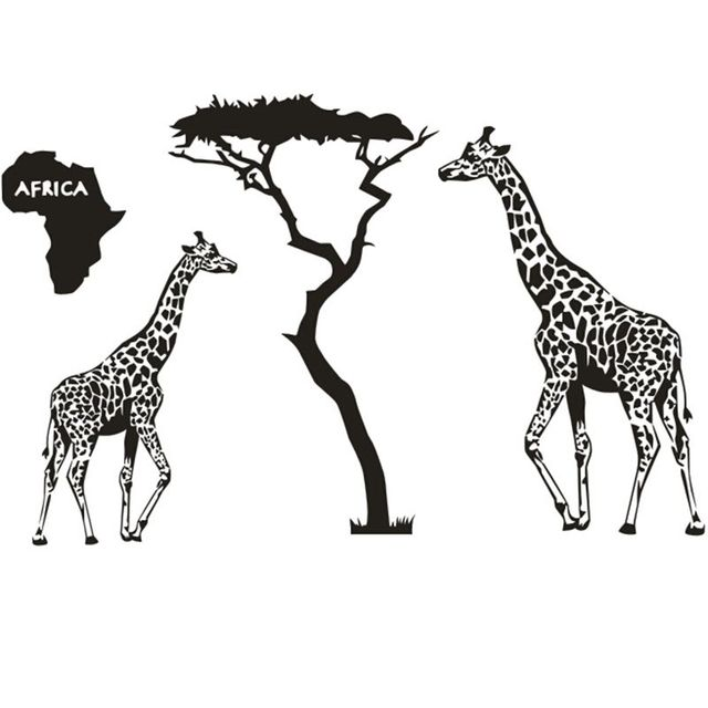 Africa Animal Vinyl Wall Decal Africa Map Giraffe Savanna Africa - Wall decals animalsafrican savannah wall sticker decoration great trees with