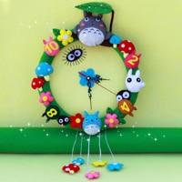 Rubihome настенные часы Бесплатная Резка Фетр Материал DIY наборы Лес животных стиль ручной работы ткань часы для Гостиная decorartion