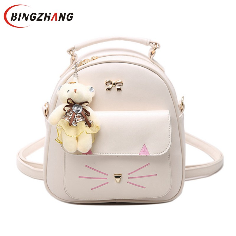 Girls PU Leather Small Backpack Women Back Pack Bag Japan Korea Teenage Student School Travel Bagpack Cat Shoulder Bags L4-3002