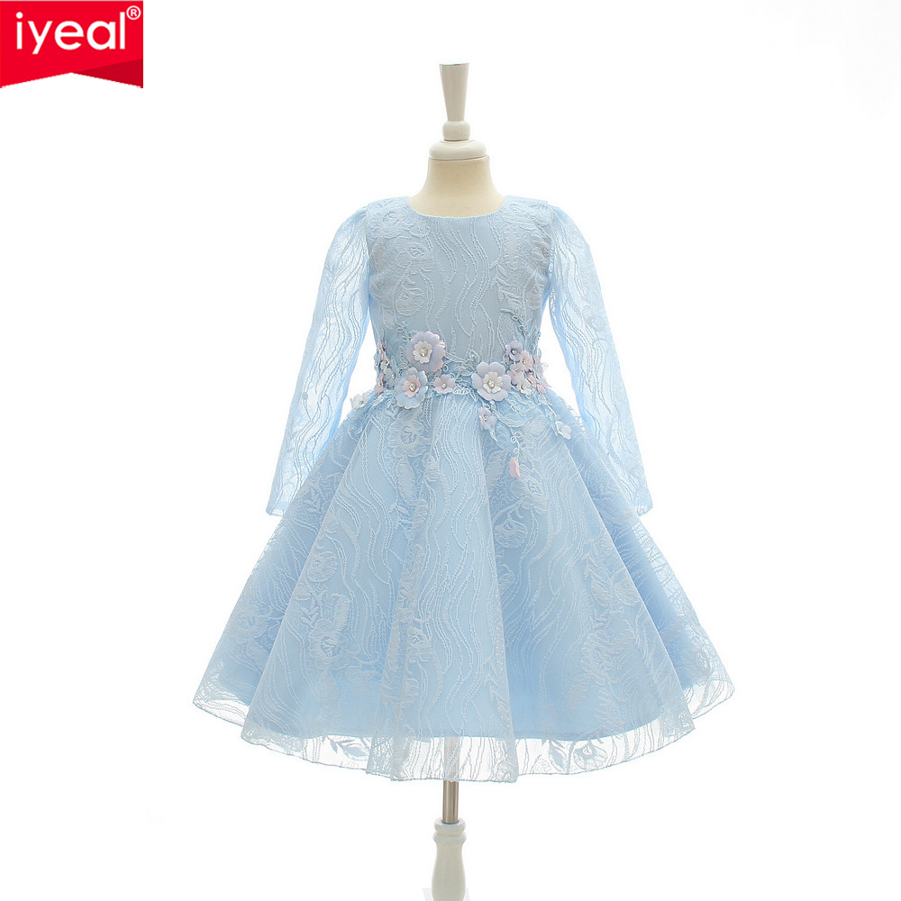 IYEAL High End Elegant Girls Dresses 2017 New Autumn Winter Kids Princess Long Sleeved Lace Wedding
