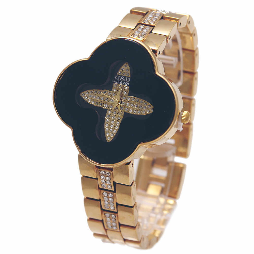 G&D Women's Watches Quartz Wristwatches Four-leaved Clover Ladies Bracelet Watch Stainless Steel Relogio Feminino Relojes Mujer