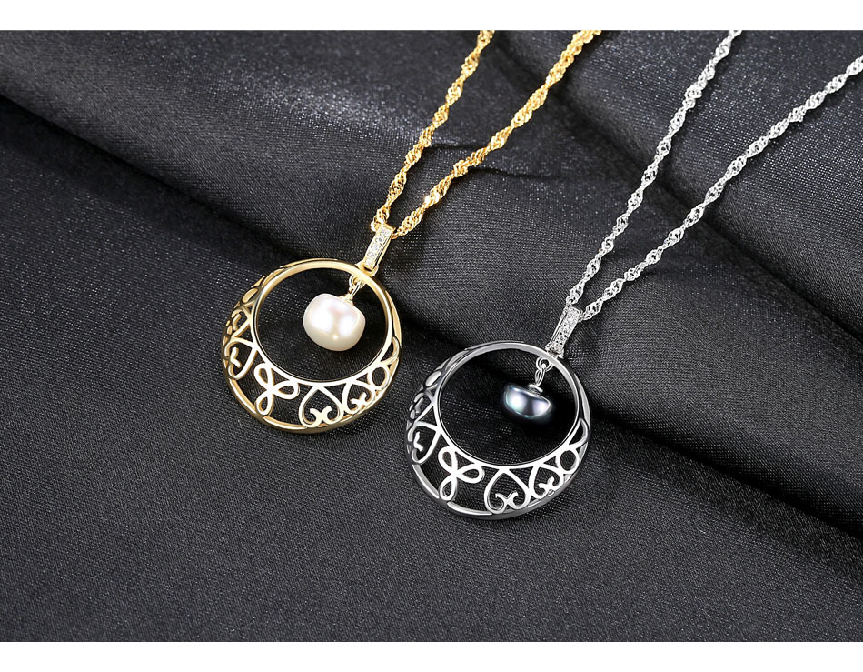 S925 Silver Pendant Necklace Water Wave Chain Natural Freshwater Pearl Simple Female Item BLT12