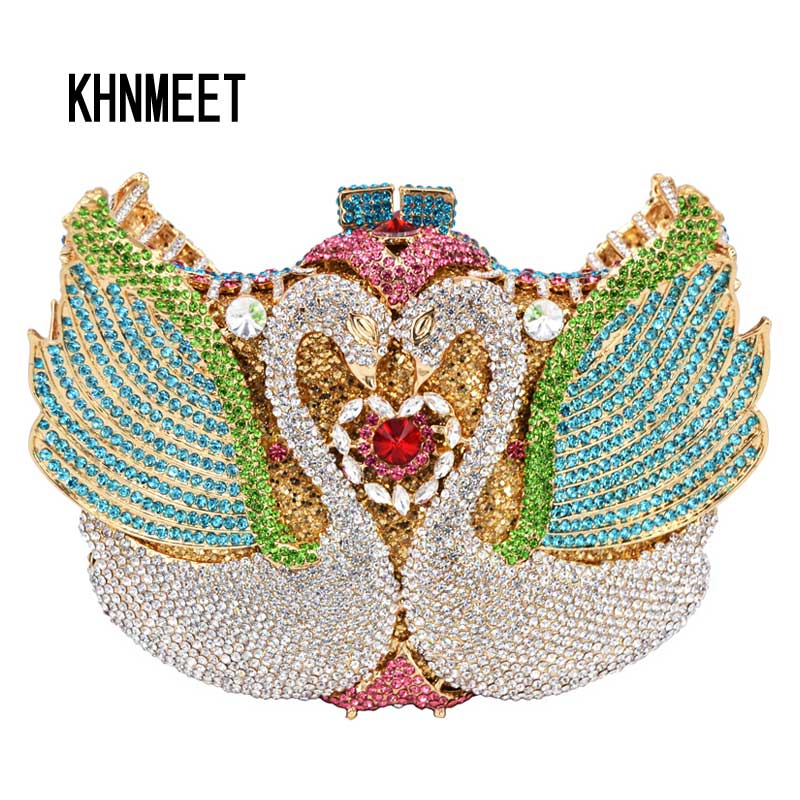 все цены на New ! rainbow Swan shape Clutch bag women evening bag Luxury rainbow crystal clutch evening bags Bling Purse wedding bag SC041 в интернете