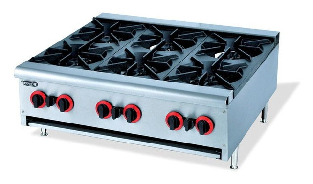 Super Quality Stainless Steel Counter Top 6 Burner Multi Cooker Gas Stove Cast Iron