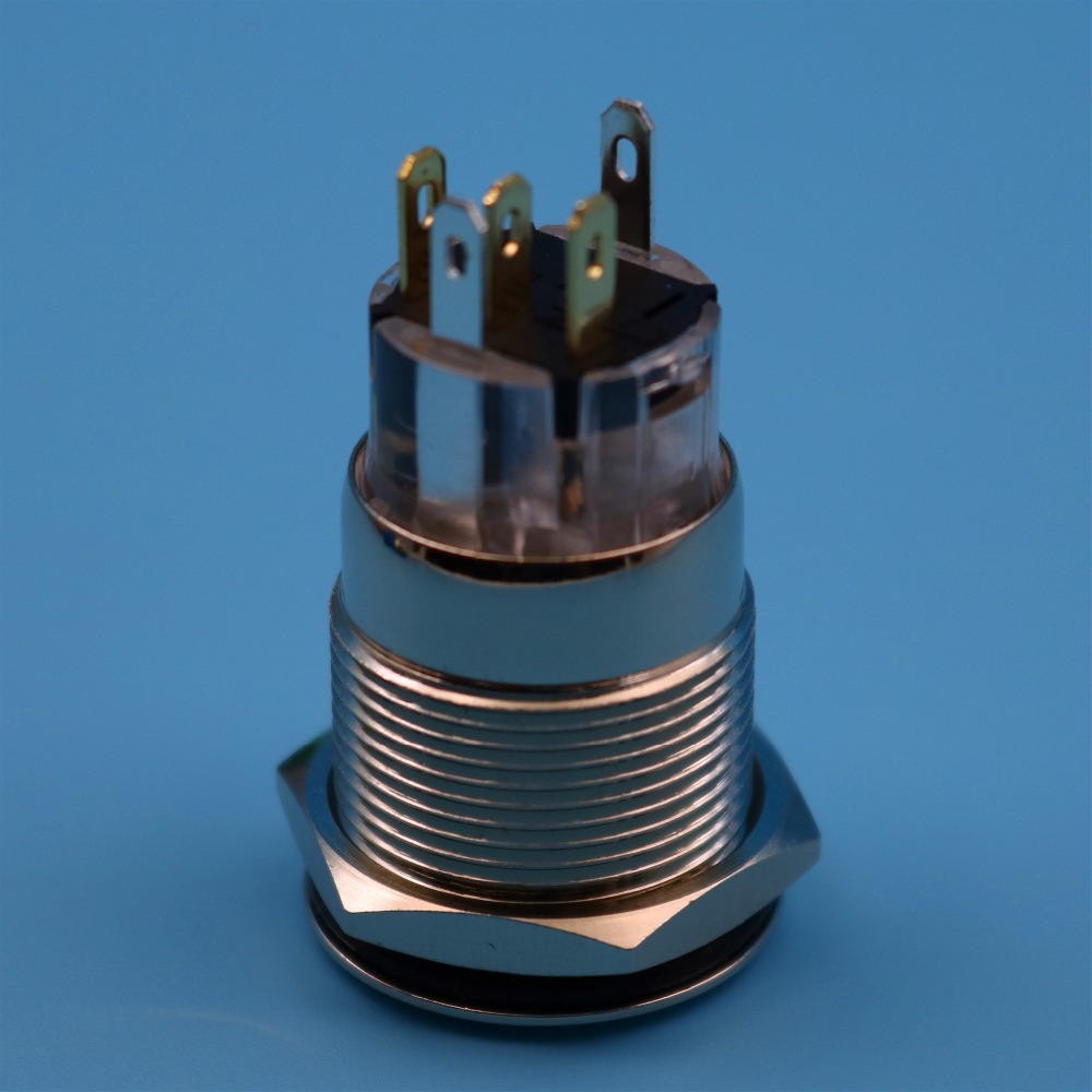 19mm 12 V 5Pin Rote LED Wasserdichte Metall Verriegelnd Gehalten ...