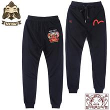 Tide Brand Evisu Wild Cotton Breathable Mens Pants Tumbler Color Embroidery Black Sports Casual Shorts 705