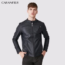 CARANFIER Men Jacket Coat High Quality Round Collar Zippers Leather Jacket Male Fashion Smart Casual Style