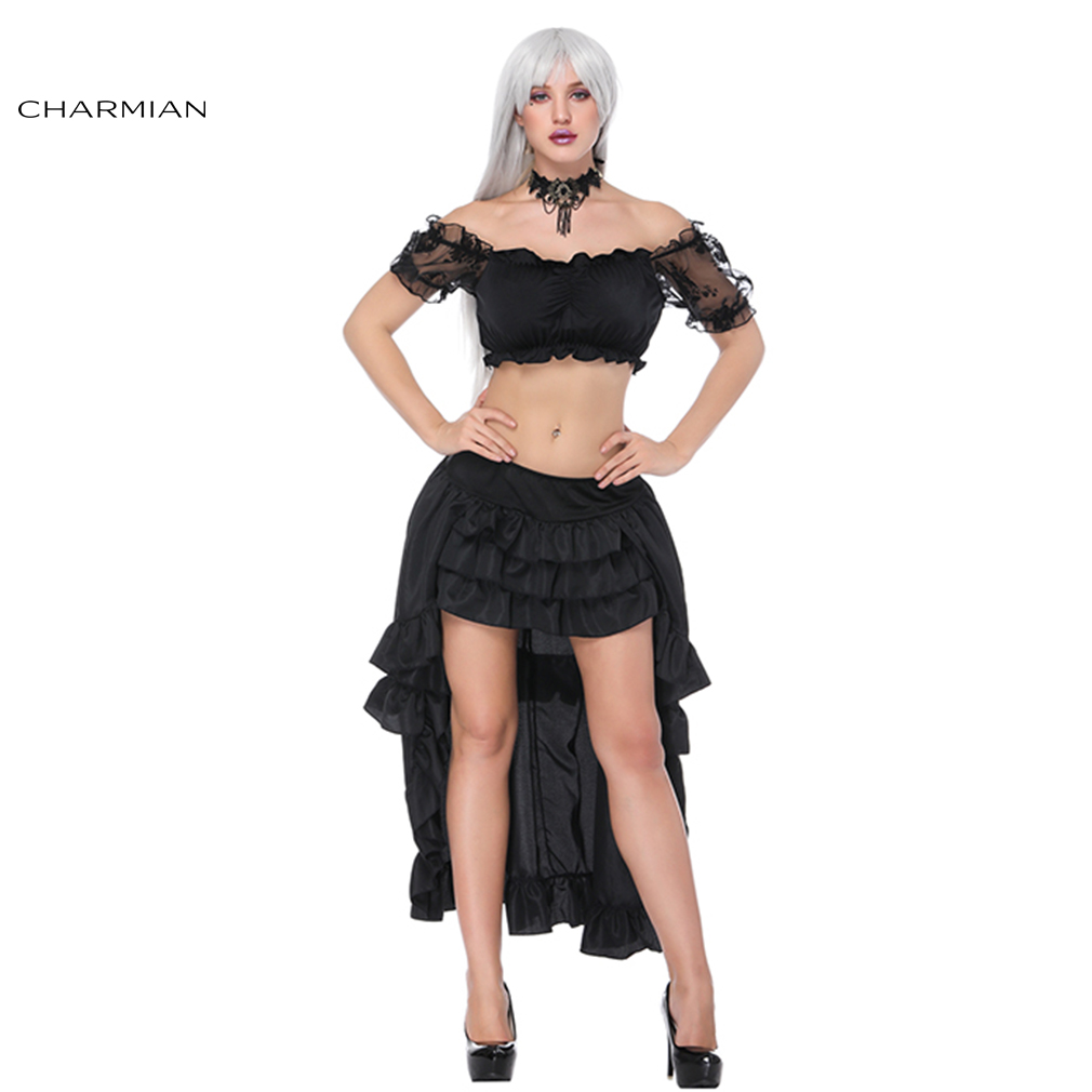 Charmian Women's Sexy Gothic Victorian Steampunk Sets Party Black Off Shoulder Ruffled Crop Top with Elastic High Low Skirt