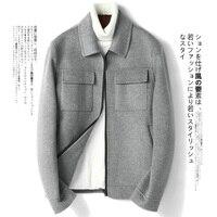 AYUNSUE Короткое шерстяное пальто Корейская весенне осенняя куртка Двусторонняя Мужская шерстяная куртка пальто Manteau Homme G 01 1805 KJ1095