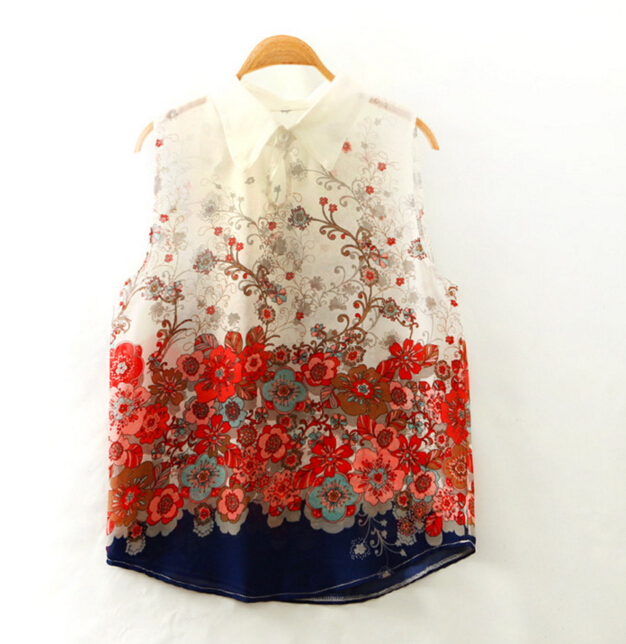 female  spring  loose  sleeveless printing flowers comfortable chiffon  casual  Blouses & Shirts fengrao003