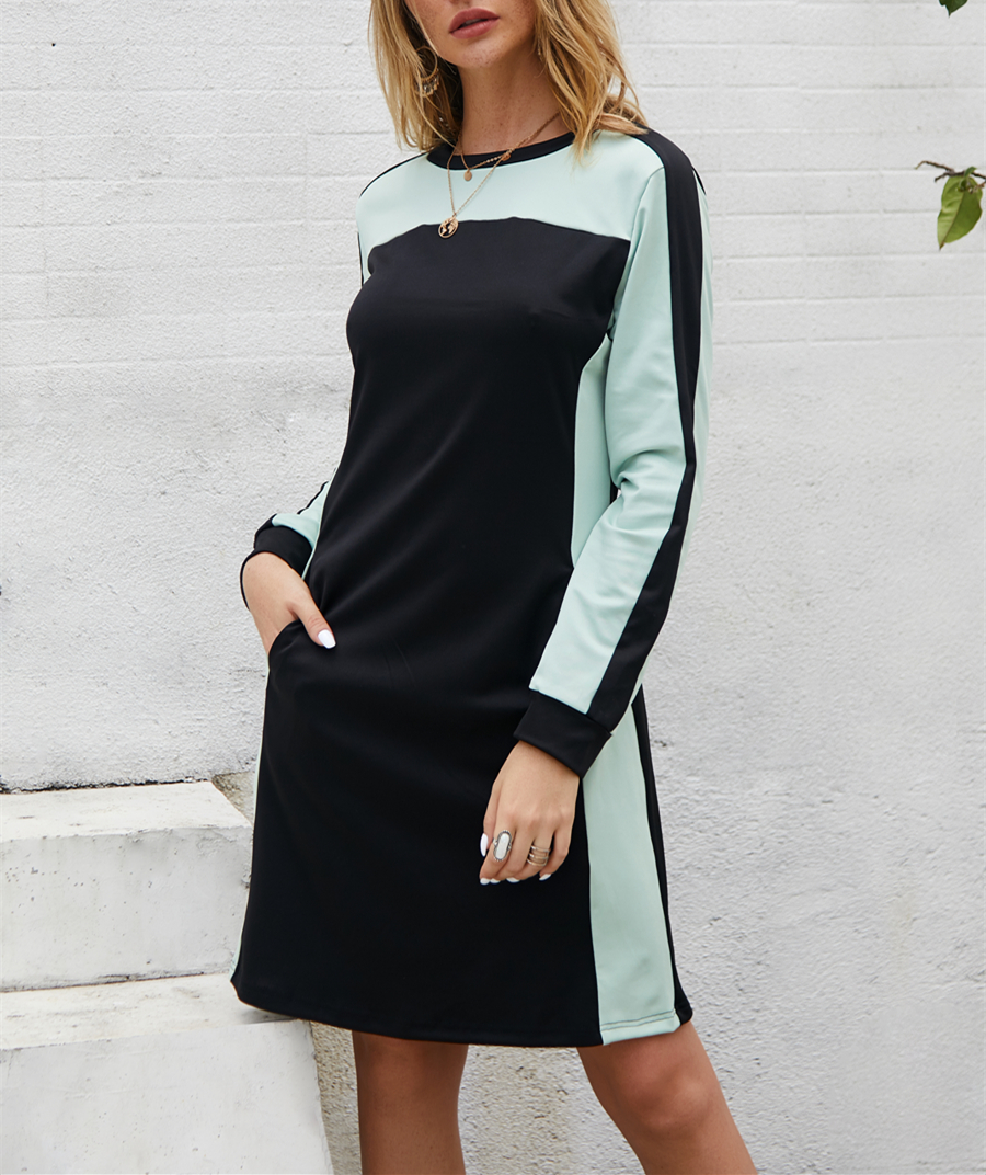Pdfmily Autumn Winter Women Casual Dress Pocket O-Neck Patchwork Long Sleeve A-Line Short Dress Women Clothes 2019 New Vestidos