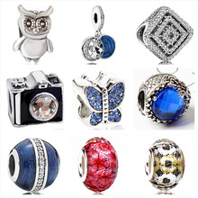 Btuamb New Arrival Owl Camera Butterfly Crystal Beads Fit Original Pandora Charm Bracelets & Bangles for Women Making Jewelry(China)