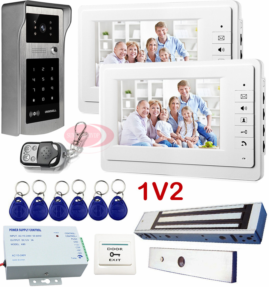 Home Intercom Rfid Inductive Card Keypad Unlock Home Video Phone 7 Color Lcd Electronic Doorkeeper + Electric Magnetic Lock 1v2