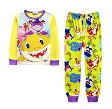 Summer Cartoon Baby Shark Children Boy Kids Long Sleeves Pajama Sets Girls Sleepwear Brand Girl Nightdress Pajamas 2-11Y